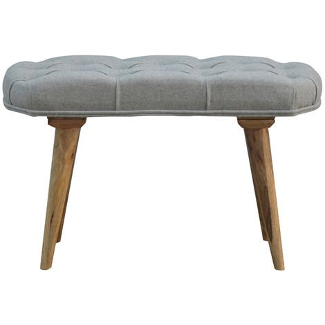 Upholstered Nordic Style Bench with Deep Buttoned Grey Tweed Top