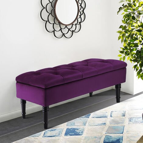 Upholstered Storage Bench Ottoman Piano Seat Hallway Bedroom Long Stool Purple