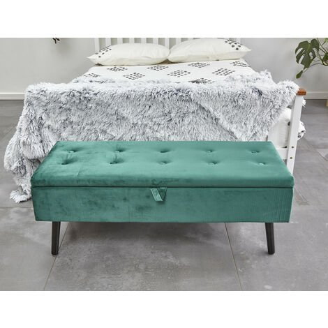 Upholstered Storage Ottoman Footstool Velvet Bench Multifunction with Hinged lid