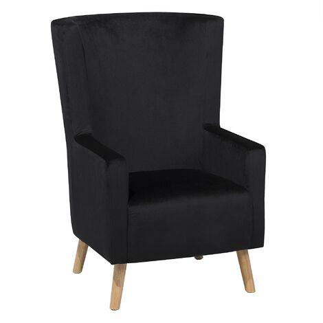 Upholstered Wingback Chair Soft Velvet High Back Black Oneida