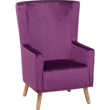 Upholstered Wingback Chair Soft Velvet High Back Purple Oneida