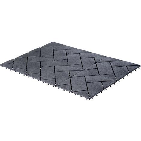 UPP Outdoor Gartenplatten Klickfliesen 30 x 30 cm | Wetterfester Bodenbelag für Balkon, Garten & Terrasse | Einfach & Schnell verlegt [6 Stk, Schiefer]