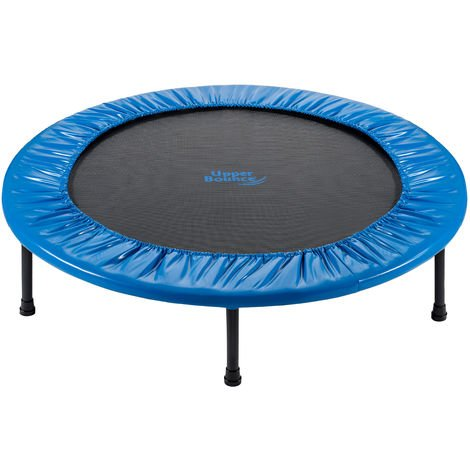 """main image of """"Upper Bounce - Mini Fitness Exercise Trampoline Rebounder Trampette for Gym, Indoor Workout, Cardio, Weight Loss - Foldable, Double Fold & Carry-on Bag or with Adjustable Handle"""""""