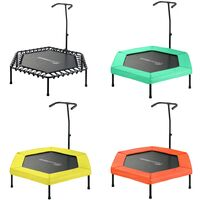 """Upper Bounce 50"""" Hexagonal Fitness Mini-Trampoline - T-Shaped Adjustable Hand Rail - Bungee Cord Suspension"""