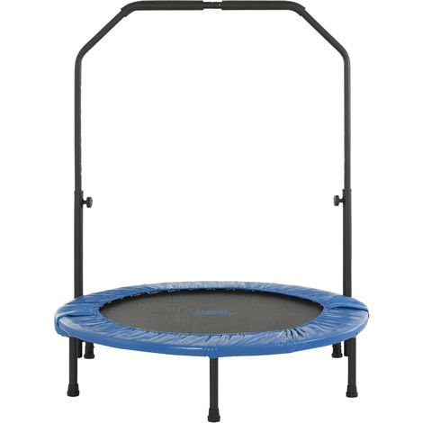 Upper Bounce - Mini Fitness Exercise Trampoline Rebounder Trampette for Gym, Indoor Workout, Cardio, Weight Loss - Foldable, Double Fold & Carry-on Bag or with Adjustable Handle