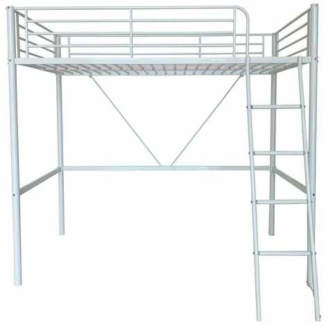 """main image of """"Upton High Sleeper/Study Bunk Bed Frame in White Metal Finish (Frame Only)"""""""