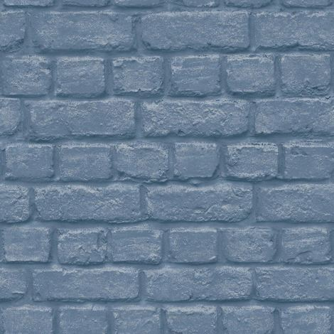 Urban Brick Effect Blue Wallpaper Embossed Textured Industrial Metallic Silver