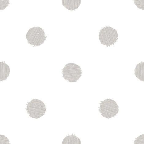 Urban Friends & Coffee Papel de pared puntos blanco y gris - Multicolore