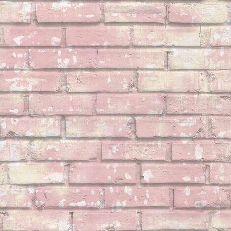 Urban Friends & Coffee Wallpaper Bricks Pink and White - Pink