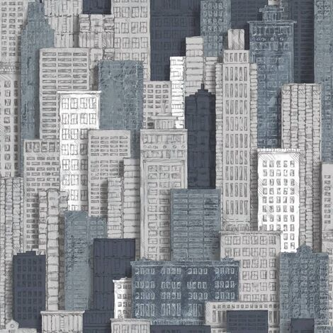 Urban Friends & Coffee Wallpaper City Apartments Grey and Blue