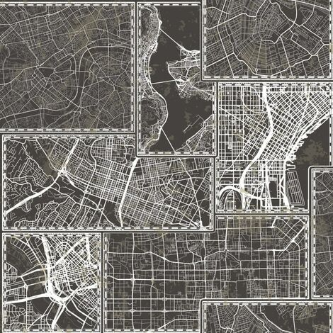Urban Friends & Coffee Wallpaper City Maps Black and Grey
