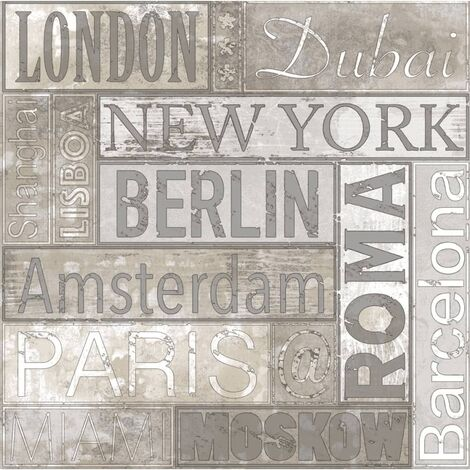 Urban Friends & Coffee Wallpaper City Names Grey and Brown