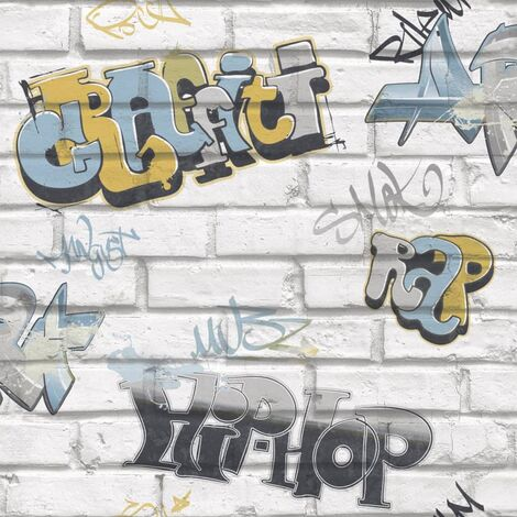 Urban Friends & Coffee Wallpaper Graffity Grey and Blue