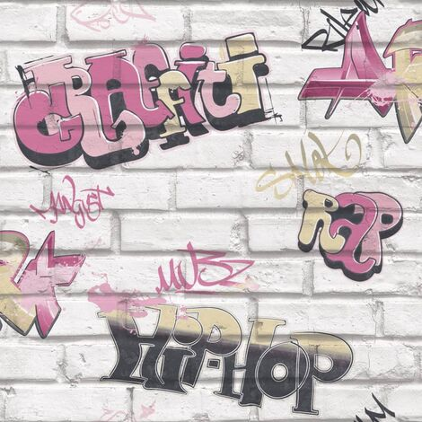 Urban Friends & Coffee Wallpaper Graffity Pink and White