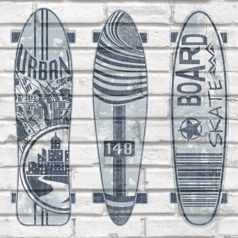 Urban Friends & Coffee Wallpaper Surfboards Blue and White - Multicolour