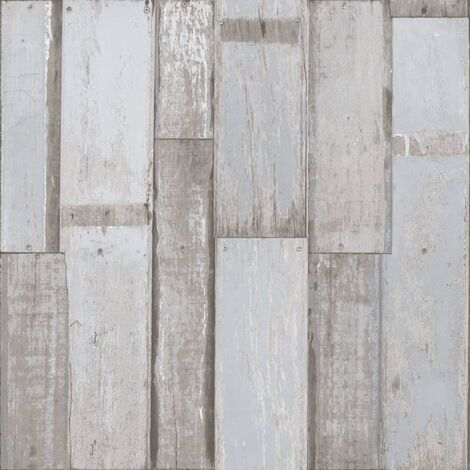 Urban Friends & Coffee Wallpaper Wooden Planks Blue and Grey