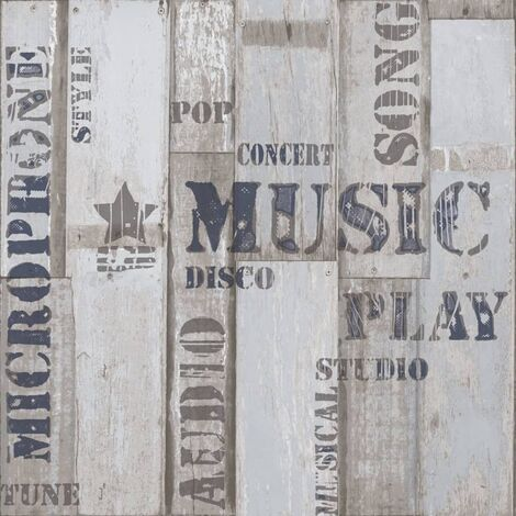 Urban Friends & Coffee Wallpaper Wooden Planks Words Blue and Grey - Multicolour