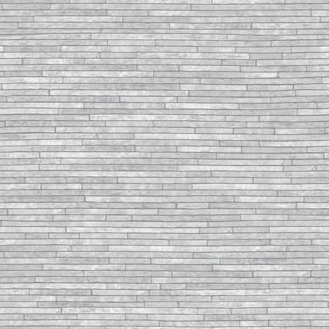 Urban Grey Slate Stone Brick Wall Wallpaper Faux Effect Realistic Arthouse