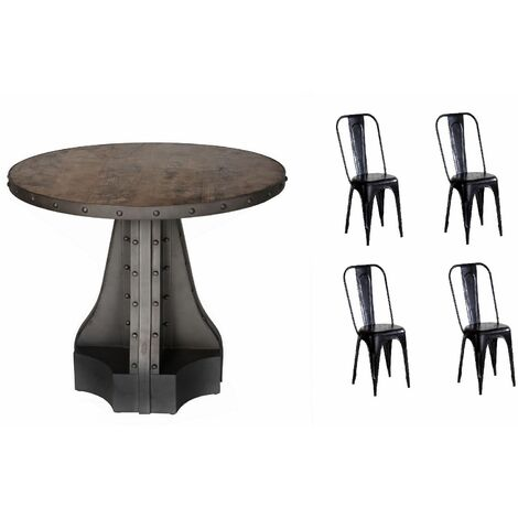 Urban Industrial Round Dining Table with Metal Black Chairs - Medium Wood