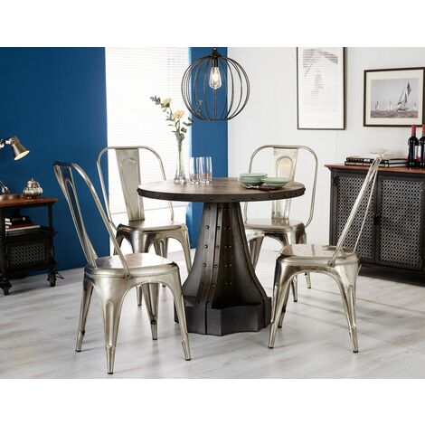 Urban Industrial Round Dining Table with Metal Grey Chairs - Medium Wood