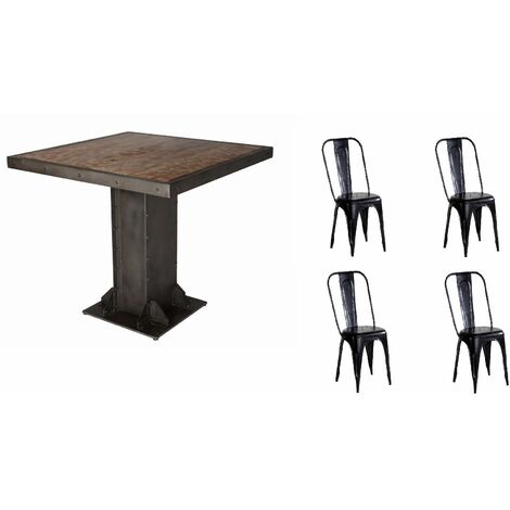 Urban Industrial Square Dining Table with Metal Black Chairs - Medium Wood