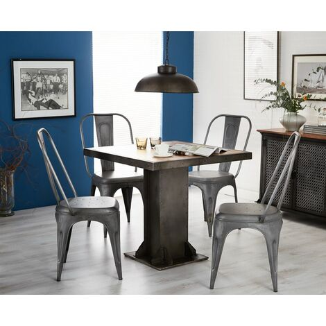 Urban Industrial Square Dining Table with Metal Grey Chairs - Medium Wood