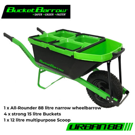 URBAN88 Kit (1 Wheelbarrow 88L + 4 Buckets 15L + 1 Scoop 12L) - BucketBarrow