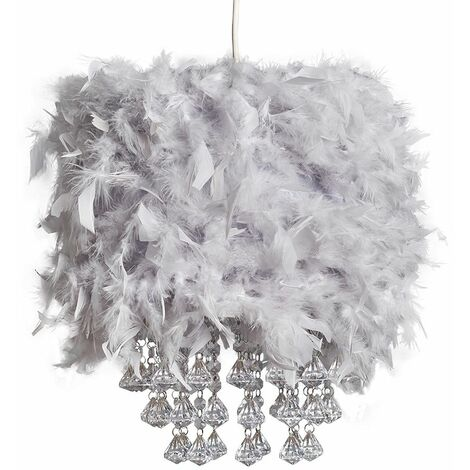 Uriel Feathered Pendant Shade with Acrylic Droplets + LED Bulb - Pink
