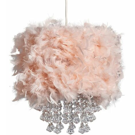 Uriel Feathered Pendant Shade with Acrylic Droplets - White - White