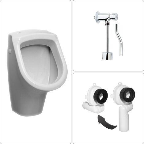 Urinal Zulauf von oben mit Druckspüler und Ablauf