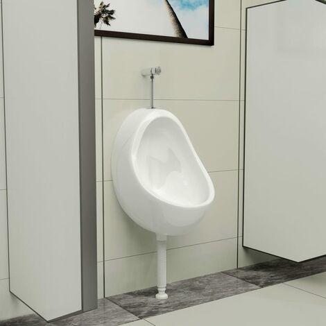 Urinoir suspendu avec valve de chasse d'eau Céramique Blanc
