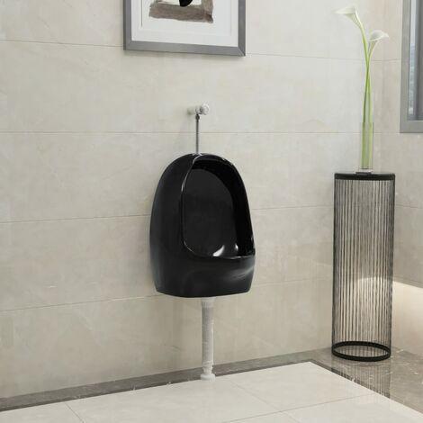 Urinoir suspendu avec valve de chasse d'eau Céramique Noir