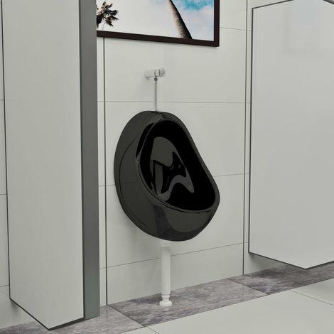 Urinoir suspendu avec valve de chasse d'eau Ceramique Noir