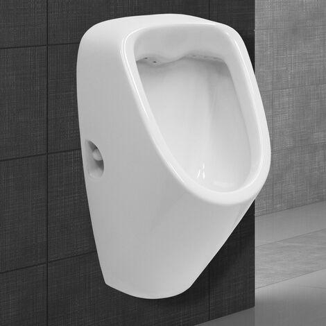 Urinoir wc mural en céramique sans valve de rinçage arrivée d'eau à l'arrière
