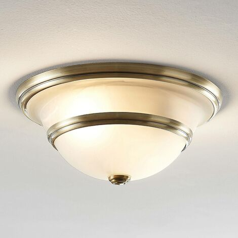 Ursula ceiling light, glass, round, antique brass