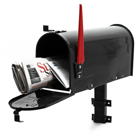 US Mailbox Post Letter Box American Design black with Wall Mount