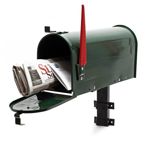 US Mailbox Post Letter Box American Design green with Wall Mount