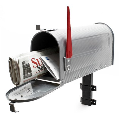 US Mailbox Post Letter Box American Design silver-grey with Wall Mount