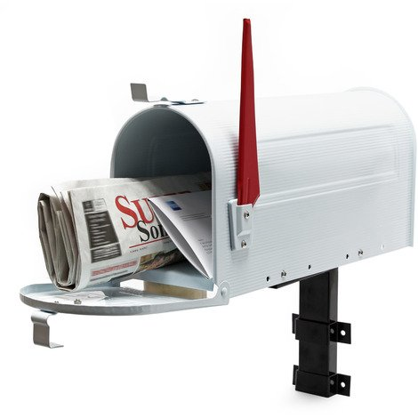 US Mailbox Post Letter Box American Design white with Wall Mount
