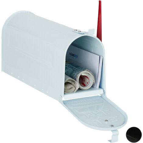 US Mailbox, Vintage, Fahne rot, Nostalgie, Retro-Look, ausgefallener Briefkasten, lustiges Zeitungsfach, weiß