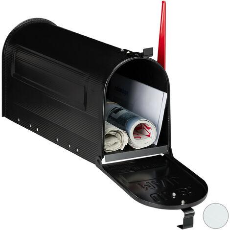 US Mailbox, Vintage, Fahne rot, originelle Zeitungsbox, Zeitungsrolle, Post box, Stahl, Zeitungsfach, schwarz