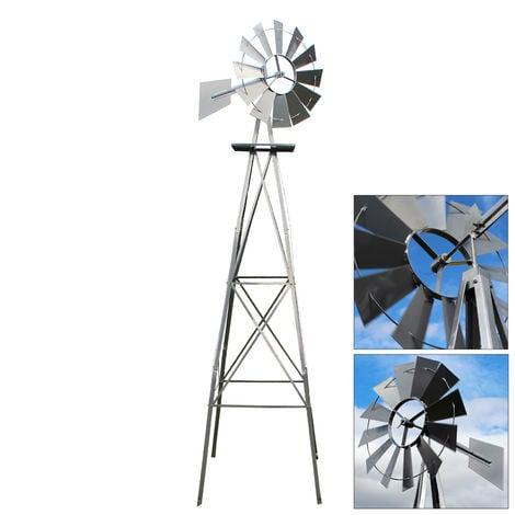 """main image of """"US molino de viento 245cm plateado estilo americano, rueda de viento con rodamiento de bolas"""""""