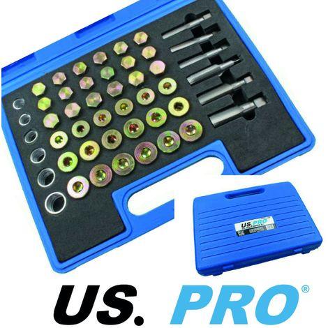 US PRO 114pc Oil Pan Thread Repair Kit Sump Gearbox Drain Plug Tool Set 3008
