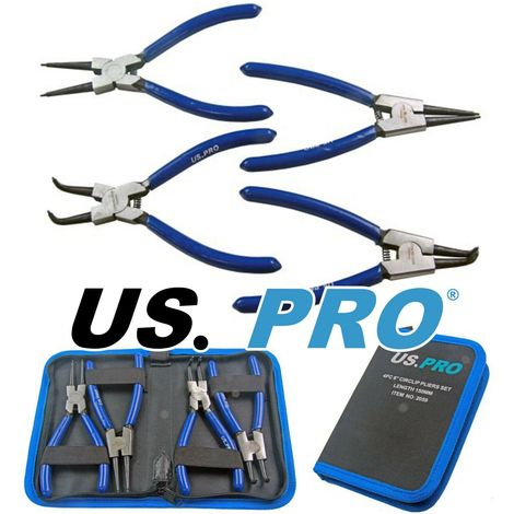 """US PRO 4 Piece 6"""" 150mm Circlip Snap Ring Pliers Internal External Pouch 2059"""