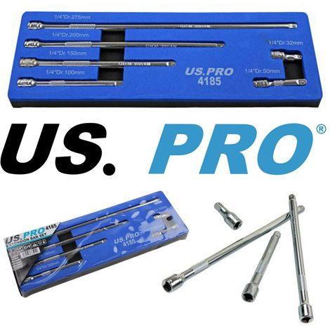 US PRO 6pc 1/4 Dr Extension Bar Set 32 50 100 150 200 & 275mm CRV 4185