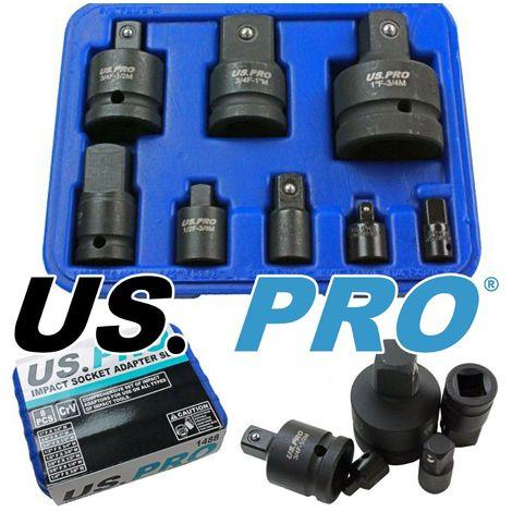 US PRO 8pc Impact Socket Adaptor Set Convertor Reducer Convertor Adaptors 1488