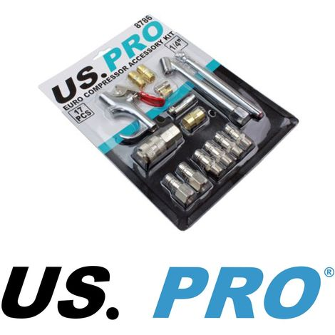 US Pro by Bergen Tools 17pc EURO Air Compressor Accessory Kit Air Blow Gun 8786
