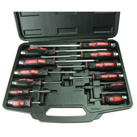 US PRO Tools 12pc Magnetic Tip Cushion Grip Go Through Screwdriver Set 1503