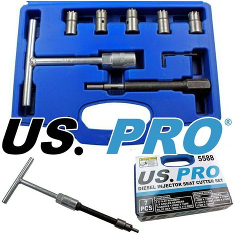 US PRO Tools 7pc Diesel Engine Injector Seat Cutter Cutting Tool Pilot Key 5588
