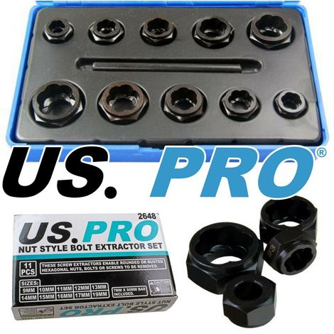 US PRO TOOLS DAMAGED / ROUNDED NUT & BOLT REMOVER SOCKET SET Nut Style Easy Out